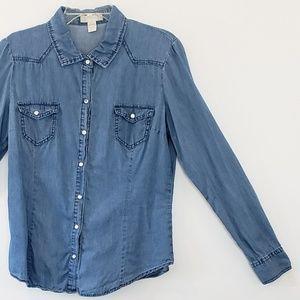 Japna Denim Shirt Medium Wash 2 Pockets sz L